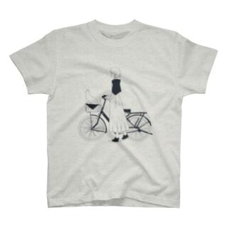 猫とお出かけ(ネイビー) Tシャツ