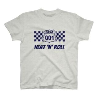 NEAT001ロゴ+チェッカーフラッグ (淡色生地用) Tシャツ