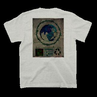 おぼのWIRE EARTH (WHITE) T-shirtsの裏面