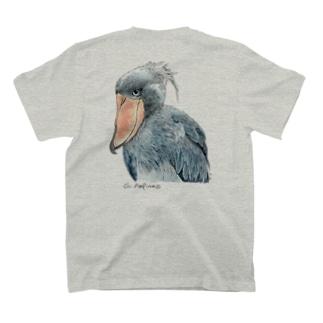 ハシビロコウ カラー 淡色T バックプリント T-shirts