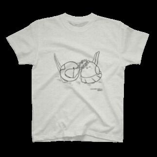 シマエナガの「ナガオくん」公式グッズ販売ページのナガオくんとシマエちゃん(白) T-shirts