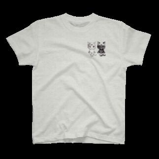 ねこぱんつのダブルぱんつ白黒2017onepoint T-shirts