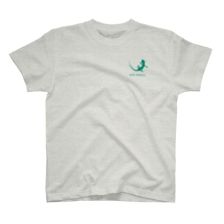 ヤモリ シルエット ロゴ ( ターコイズグリーン )  T-shirts
