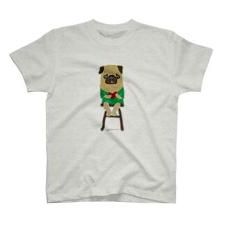 パグちゃん本を読むとベロ出ちゃう T-shirts