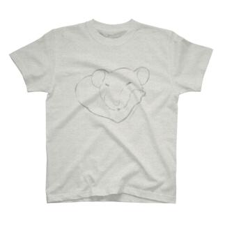 しろちゃんと一緒に筋トレしよう(薄めグレー) T-shirts