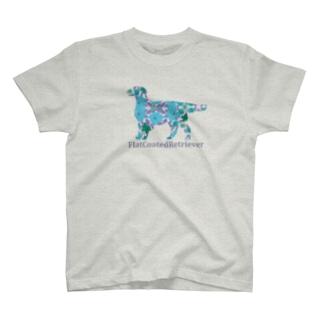 花 フラットコーテッドレトリバー T-shirts