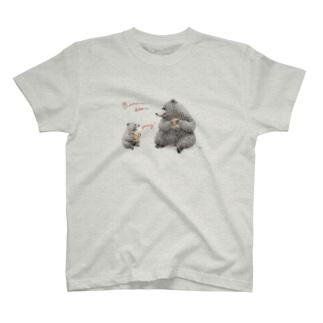 ヒグマ親子とカンパーニュサンド T-shirts