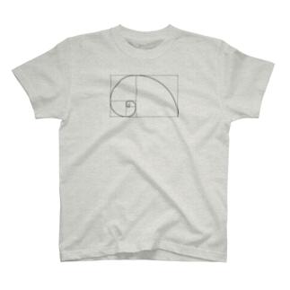 フィボナッチ数列右巻き T-shirts
