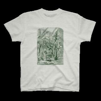 古書 天牛書店のサボテンの庭<アンティーク・イラスト> T-shirts