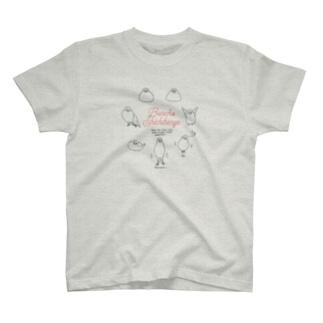 文鳥七変化・黒線イラスト T-shirts