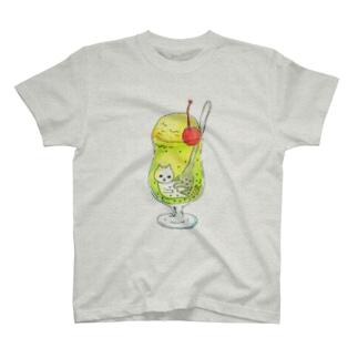 クリームソーダにたゆたうネコ T-shirts