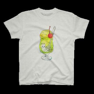 フクモトエミのクリームソーダにたゆたうネコ T-shirts