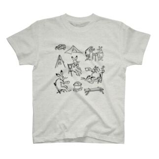 鳥獣戯画現代版 アウトドア T-shirts