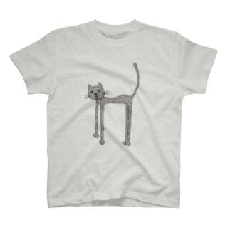 荒れ狂う伸び猫 T-shirts