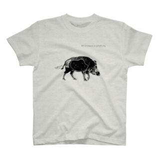 モノクロ 腹ペコ猪腹宇宙 T-Shirt