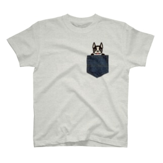 ボストンテリア㏌デニムポケット T-shirts