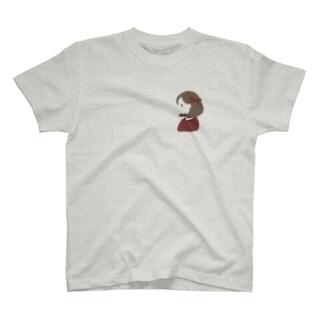 赤色リボンの女の子 T-shirts