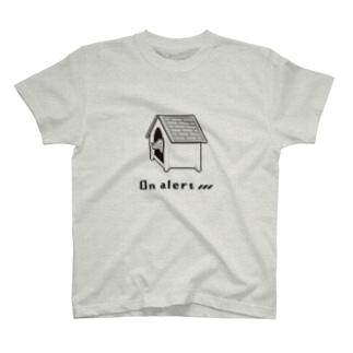 警戒中の犬(ドット絵) T-shirts