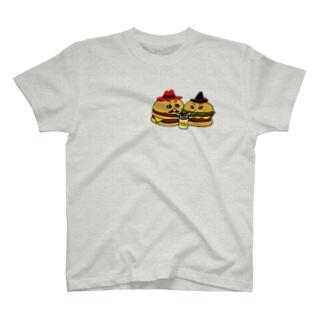ハンバーガーカップル シェイク T-shirts