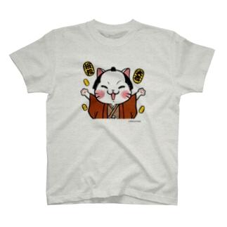 商売繁盛ちょんまげ猫 T-shirts