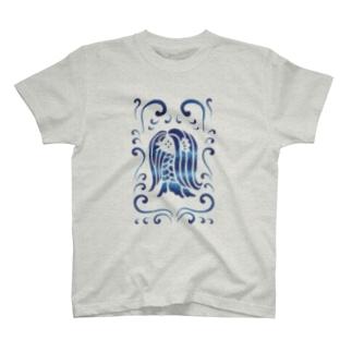アマビエ様と波・青 T-shirts