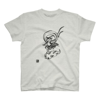 風神びわちゃんモノクロ T-shirts