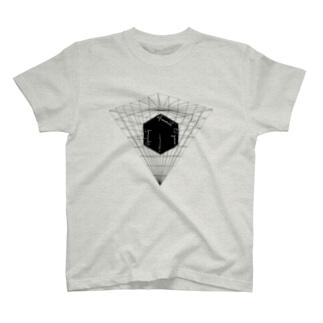 ブラックキューブ 反転ピラミッド T-shirts