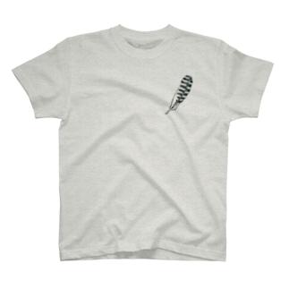 ヤマセミと羽/表裏(控え目) T-shirts