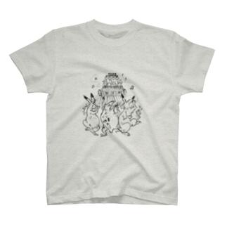 鳥獣戯画オリジナル002-お祭り T-shirts