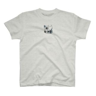 ネコ*なかよし♪ 花モノクロ T-shirts