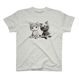 ダブルぱんつ白黒おすわり T-shirts