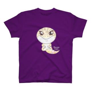 おすわりレオパ(アルビノ系) Tシャツ