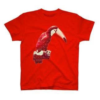 白い花柄の赤いオニオオハシ Tシャツ
