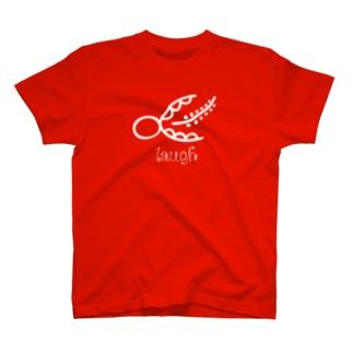 トンパ文字「笑う」文字白 絵のような不思議な文字の神秘のパワーで貴方のハッピー な願い幸運を叶える象形文字・古代文字 Tシャツ