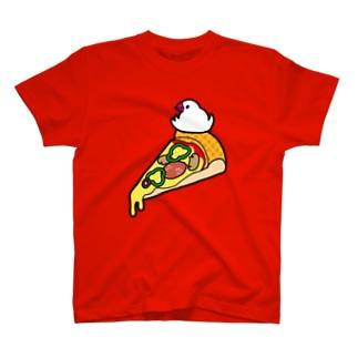 ピザで暖をとる文鳥 Tシャツ