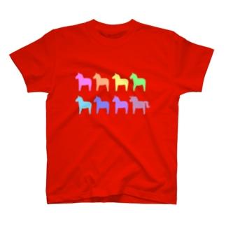 ダーラナホース_レインボー T-shirts