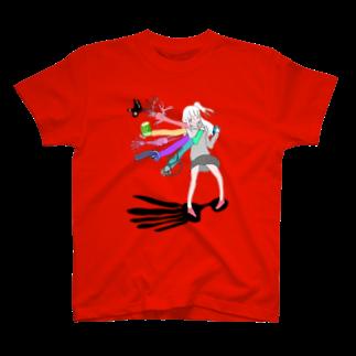 抱っこなどのふれあいの黒と美肉のワンダーランド アイスピック・アタラクシア T-shirts