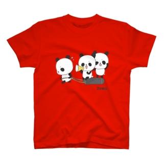 三頭のパンダ・トレーニング T-shirts