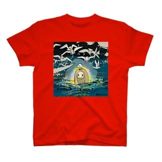 アマビエさんとカモメと夕闇 T-shirts
