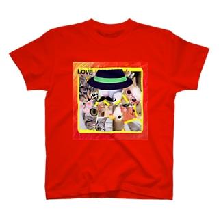 ニャンコ一杯賑(にぎ)やかし T-shirts