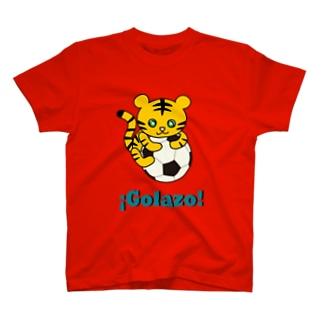 森のどうぶつサッカーshopのストライカーのトラ T-shirts