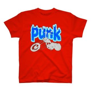 パンク&バイク  灰色×青 T-shirts