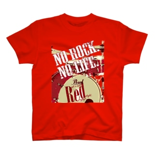 まちゅ屋のNo Rock. No Life. Red(Drum) T-shirts