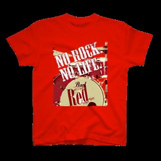まちゅ屋のNo Rock. No Life. Red(Drum) T-shirts