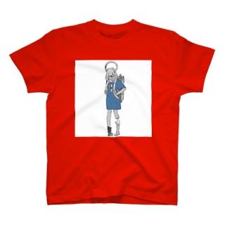 妖怪 自己満ち足り Blue T-shirts