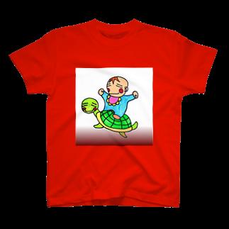 創作文字とコトバ。のモチベビ&モチ亀 T-shirts