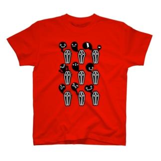 棺桶からいっぱい!おばけちゃん‐ホラーズシルエット-黒 T-shirts