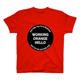 ワーキングオレンジハローTシャツ T-shirts