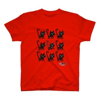 しっぽピーン 黒猫ちゃんマウンテン Tシャツ