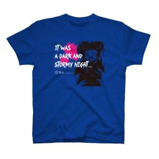 怖話-Girlイラスト2(T-Shirt Blue) Tシャツ